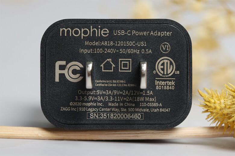 Độ an toàn sạc Mophie PD 18W USB-C