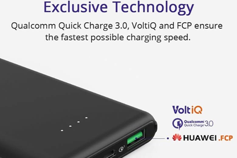 Pin sạc dự phòng Tronsmart Presto 10000mAh- PBT10 QC 3.0 được tích hợp 3 công nghệ sạc nhanh là Qualcomm 3.0, Volt iQ, FCP.