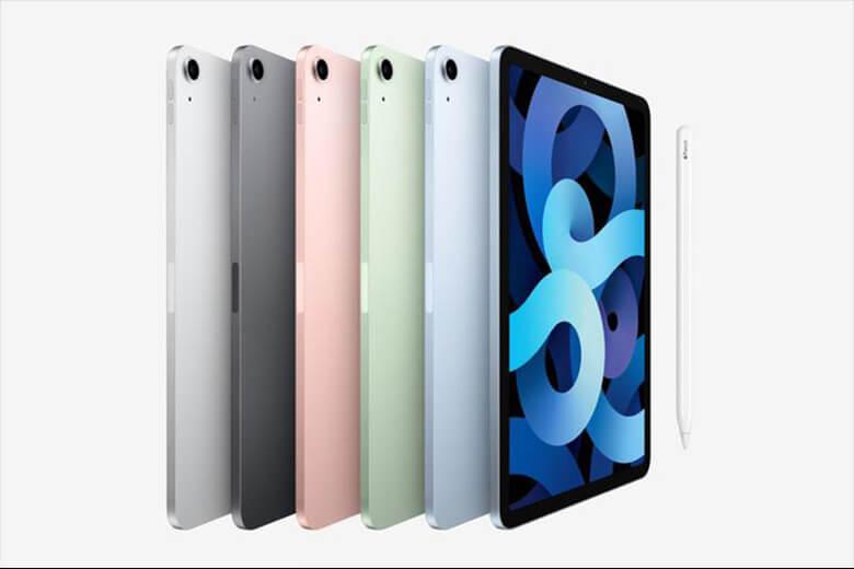 iPad Air 4 kích thước dày hơn một chút ở mức 6.1mm và chỉ có một camera ở mặt sau và nhiều màu sắc mặt lưng sau nổi bật hơn