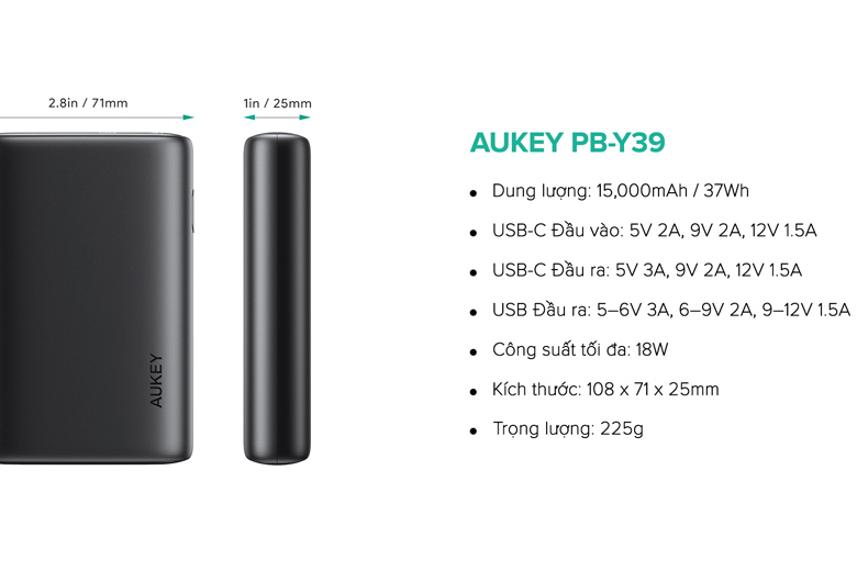 Pin sạc dự phòng Aukey PB-Y39 sở hữu nhiều tính năng mới lạ