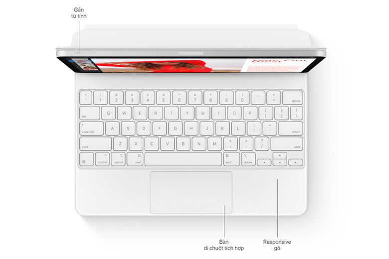 Để tận dụng tối đa khả năng đa nhiệm hàng đầu của iPad Pro 2021 12,9 inch bạn phải ghép nối nó với Smart Keyboard Folio của Apple