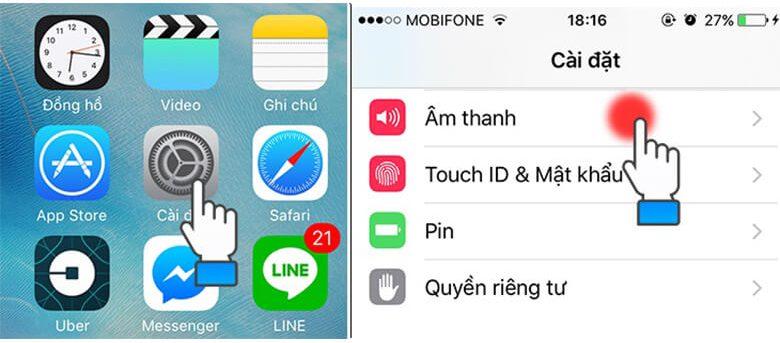 ãy mở iPhone lên sau đó vàoCài đặt -> chọn mụcÂm thanh