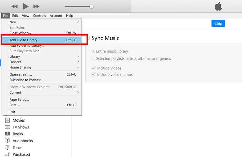 lựa chọn và mở bài hát yêu thích của mình trên máy tính bằng cách nhấp chuột vào File ở góc bên trái màn hình -> nhấnAdd File to Library. Có một lưu ý nho nhỏ rằng nhạc được sử dụng làm nhạc chuông phải có đuôi là mp3.
