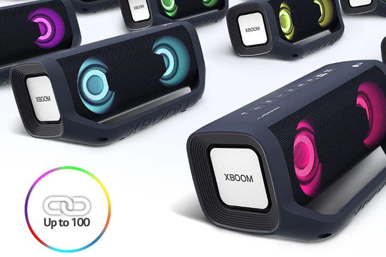Kết nối không dây liên kết tới 100 loa LG XBOOM Go PN5 mở rộng không gian nghe nhạc của bạn ra thật xa.