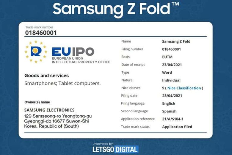 Samsung đăng ký thương hiệu Galaxy Z Fold cho máy tính bảng có thể gập lại