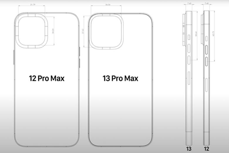 iPhone 13 Pro, bản thân mô-đun máy ảnh sẽ cao hơn 3,41mm và rộng hơn 4,81mm so với iPhone 12 Pro hiện tại