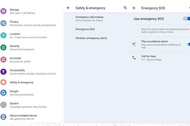 Tính năng SOS khẩn cấp của Android 12
