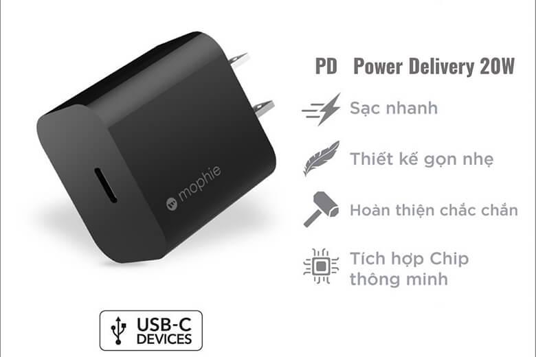 Thiết kế sạc Mophie PD 20W USB-C