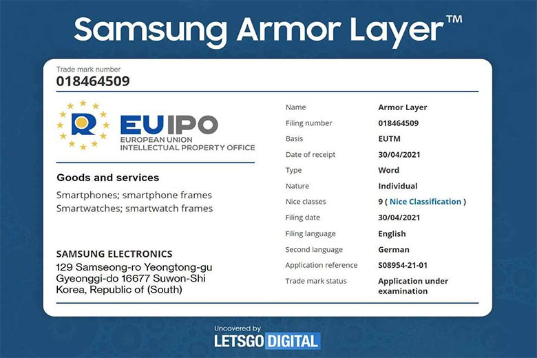Samsung cũng đã đăng ký nhãn hiệu cho Armor Skin và Armor Layer