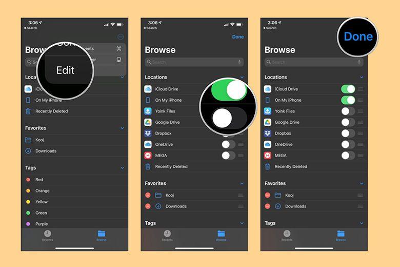 Bật các dịch vụ trong ứng dụng Files