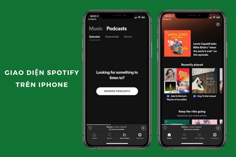 Giao diện Spotify trên iPhone