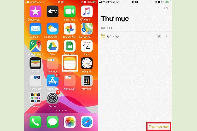 Mở ứng dụng Ghi chú từ iPhone hoặc iPad