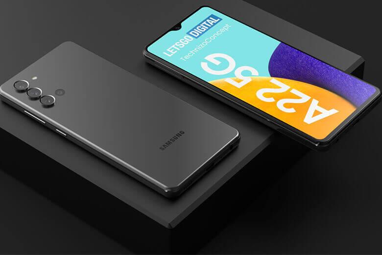 Galaxy A22 được Samsung thiết kế thân máy có mặt lưng và khung viền được chế tác bằng nhựa cao cấp tương tự như dòng Galaxy A21 cùng với mặt sau có màu Gradient