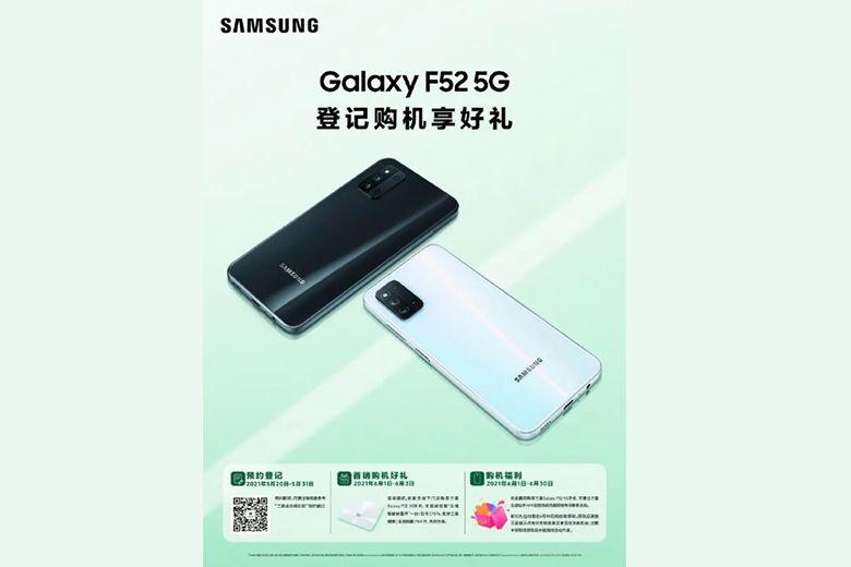 Samsung Galaxy F52 5G giá 7,2 triệu đã có thể đặt hàng trước vào ngày 20 tháng 5 này tại Trung Quốc thong bao ve su xuat hien cua galaxy f52 5g viendidong