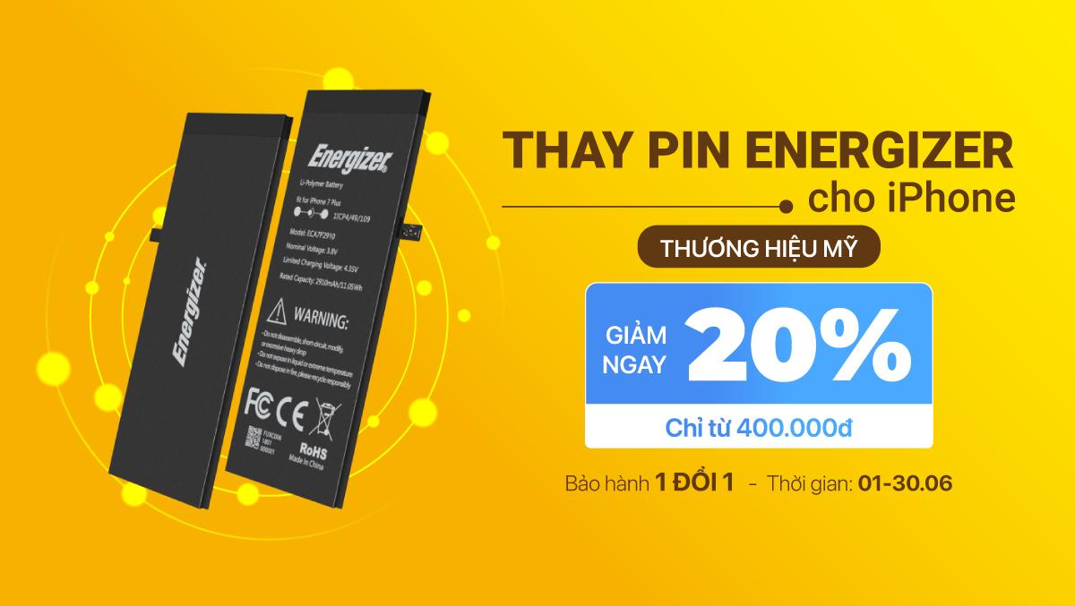 Tháng 6, GIẢM NGAY 20% khi khách hàng thay pin Energizer chính hãng cho iPhone tại Viện Di Động