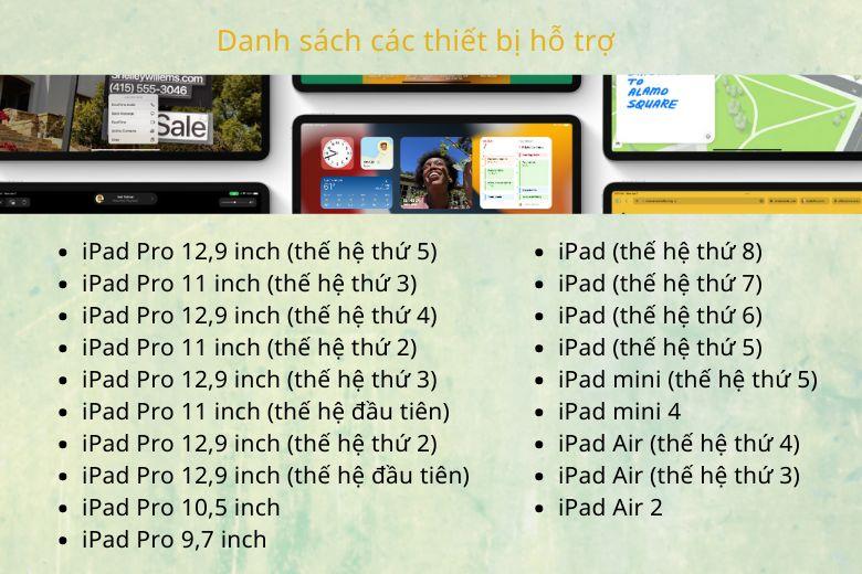 Các thiết bị hỗ trợ iPadOS 15